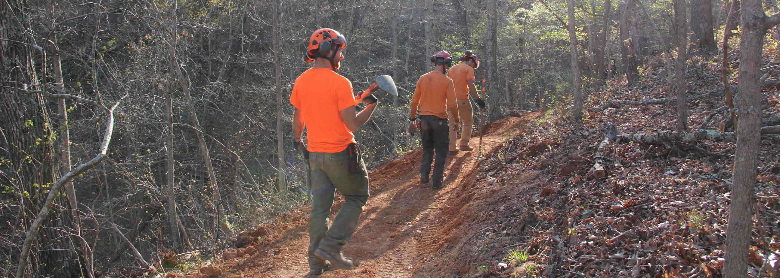 Trail building, woods, trail builders, shovels, helmets