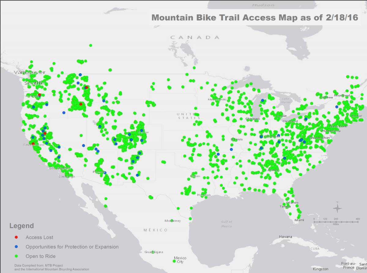 Mountain Bike Trail Access Map as of Feb. 18, 2016